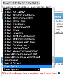 Retail Pop-up List in the Templates