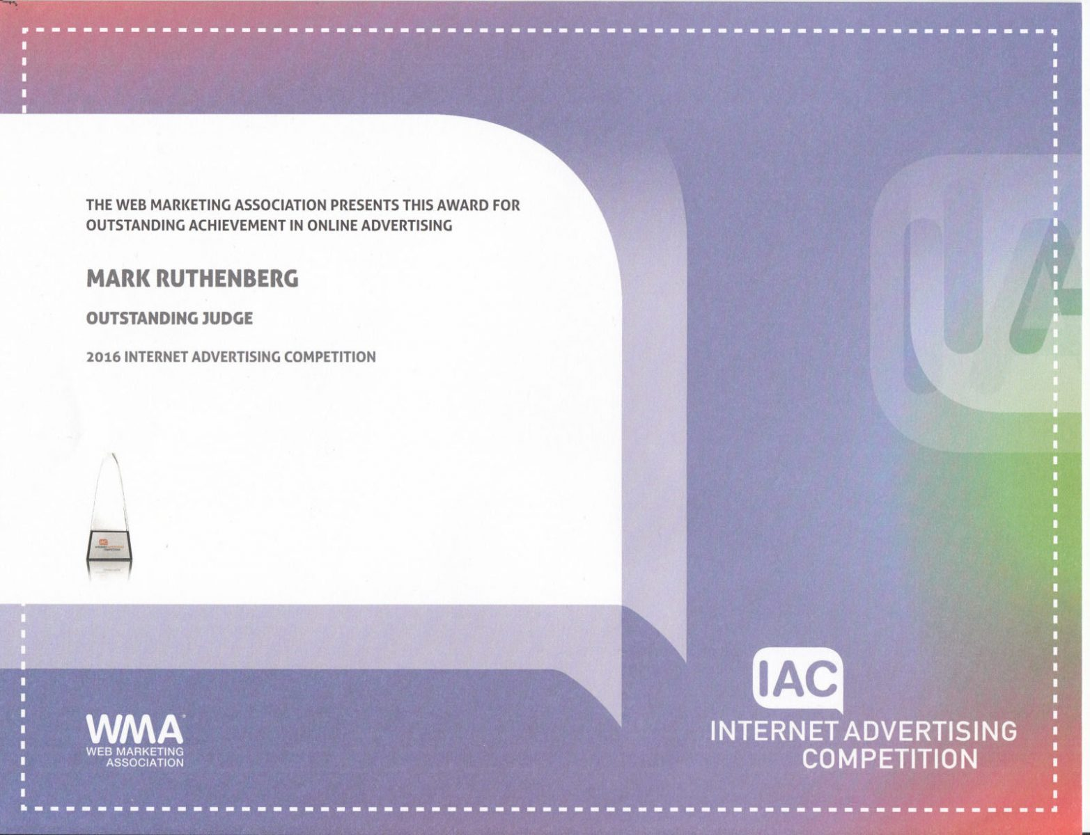Internet Advertising Awards - Judging Certificate 2016
