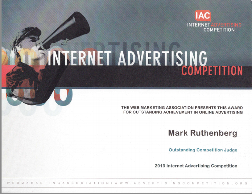 Internet Advertising Awards Judging Certificate