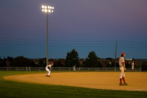Vaughan baseball game, at night