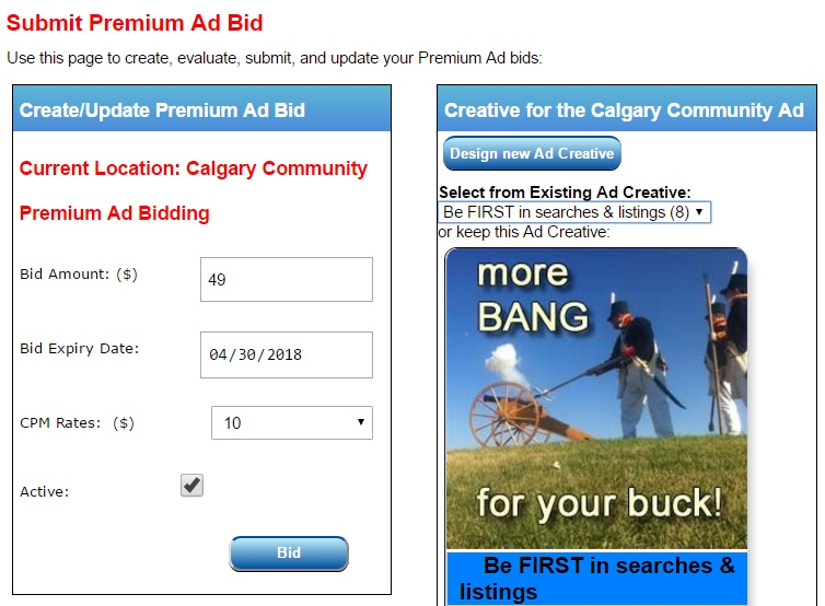 Premium Ad Bidding form