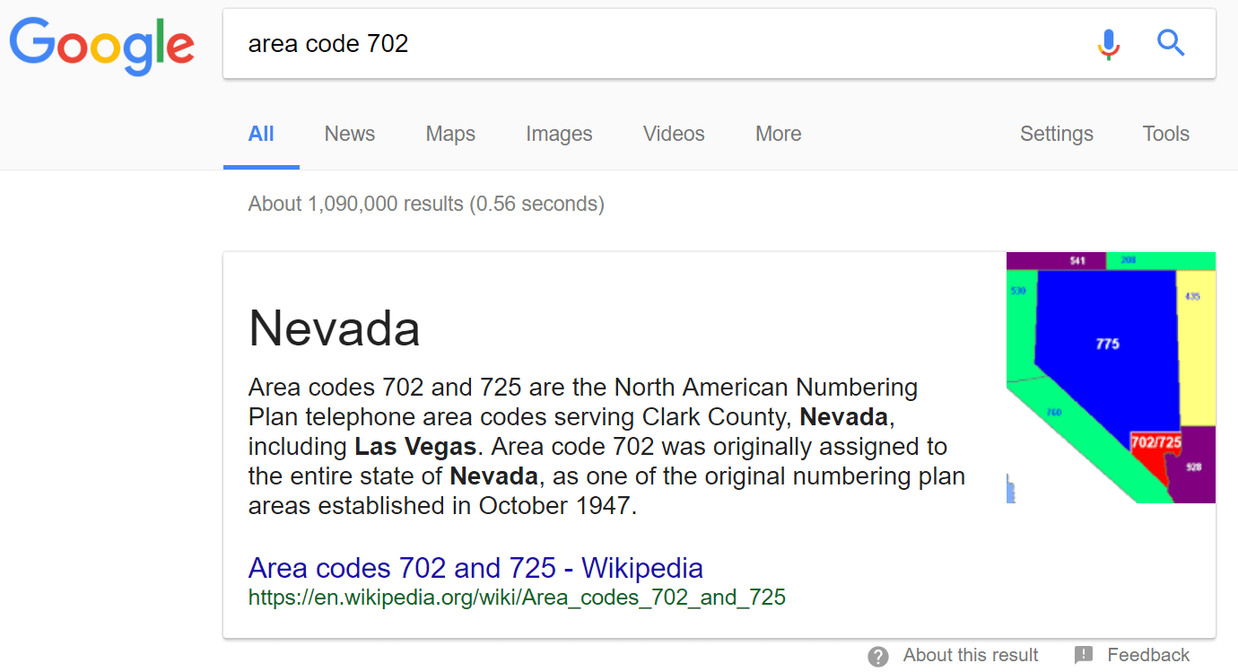 Google the Area Code 702