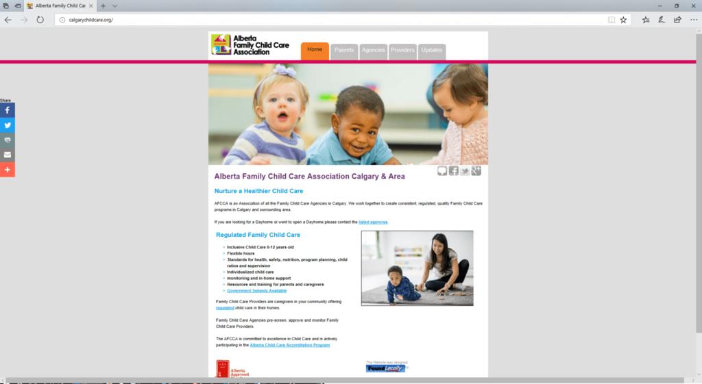 Alberta Family website -desktop