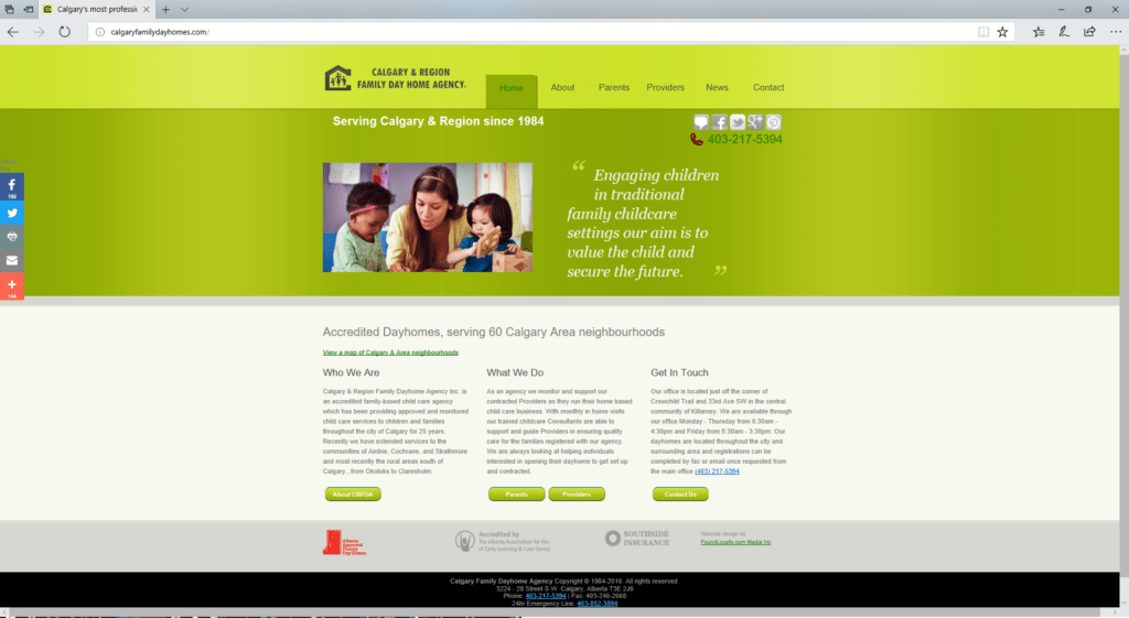 Calgary Region Family Dayhomes website -desktop