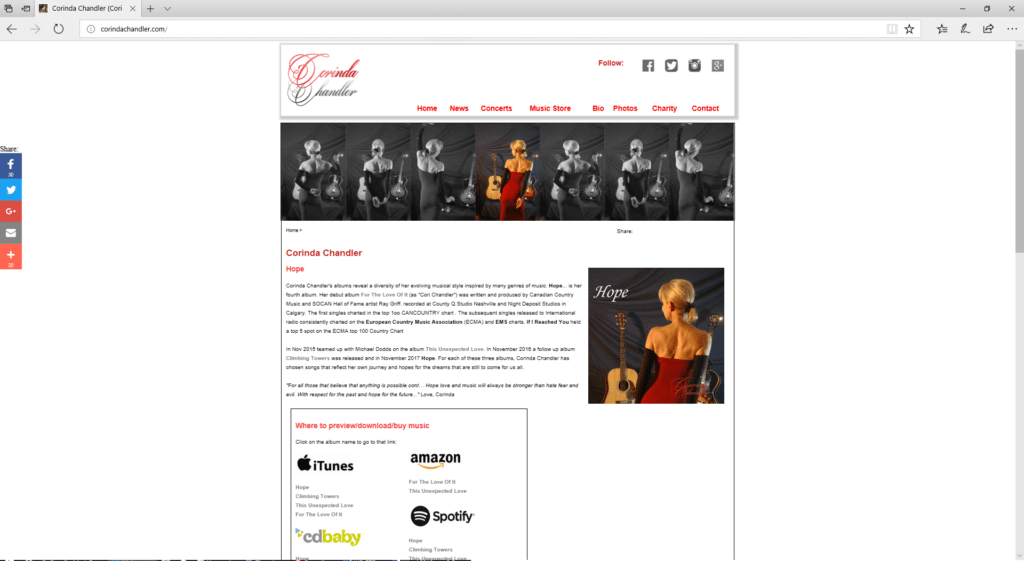 Corinda Chandler - desktop website
