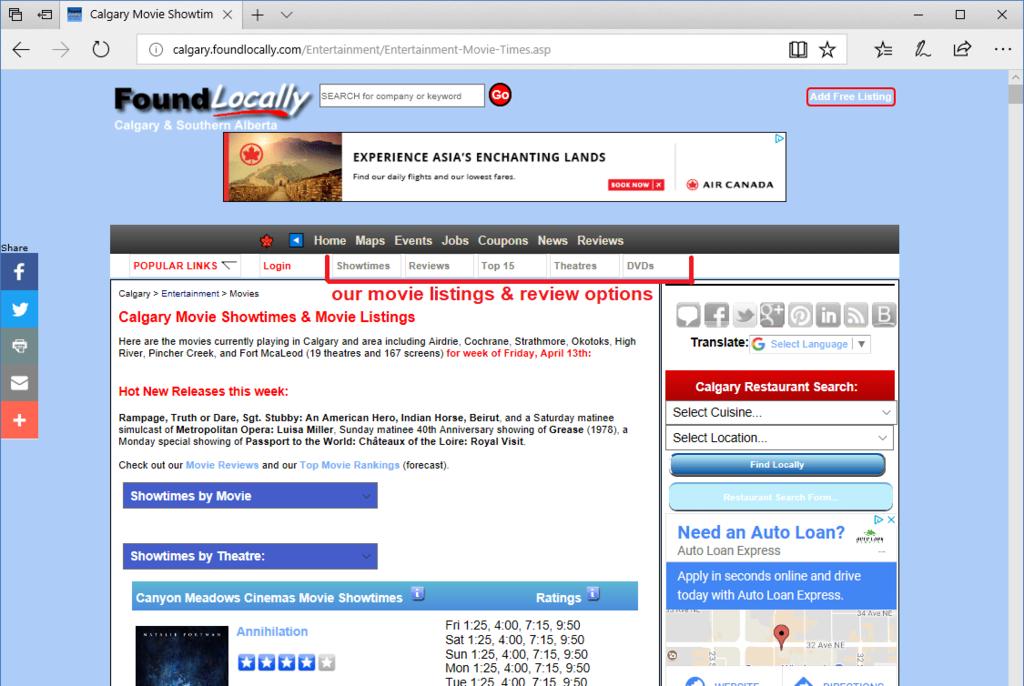 Movie Listings options, beside the Popular Links menu