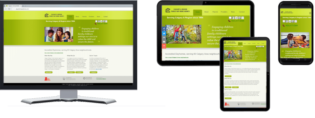Calgary Region Family Dayhomes website for Multiple Screen Sizes
