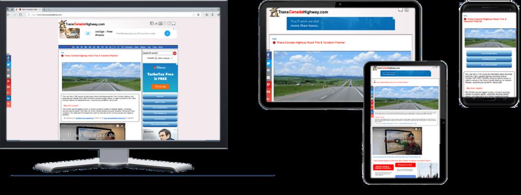 TransCanadaHighway.com website in Multiple Screen Sizes