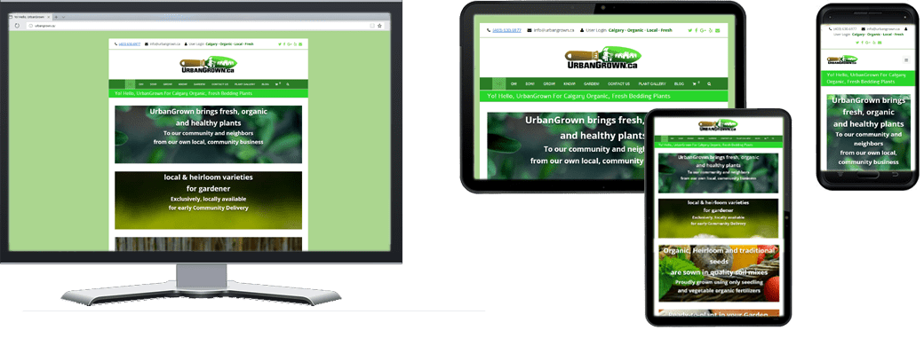 Urban Grown.ca website on Multiple Screen Sizes