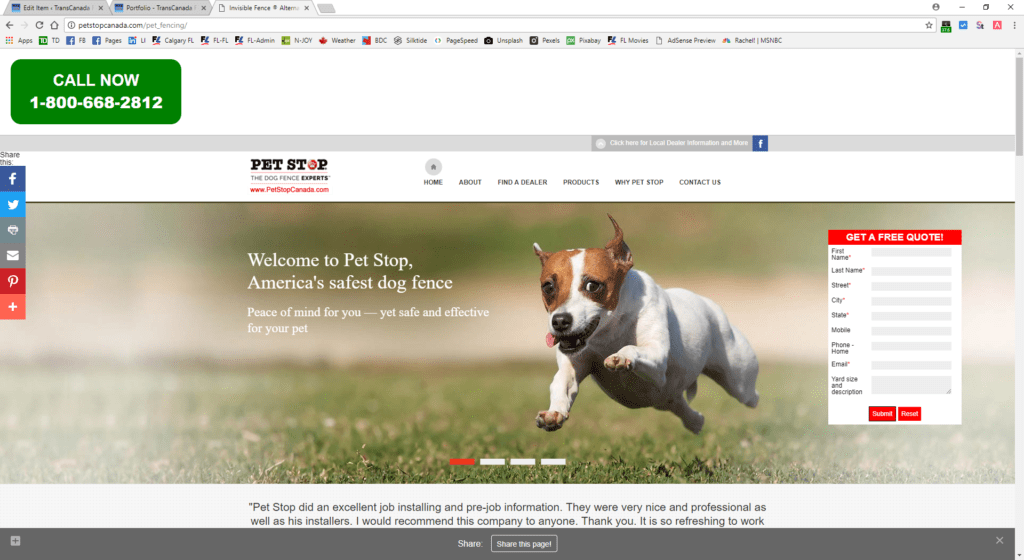 PetStop Canada - pet fencing site - desktop