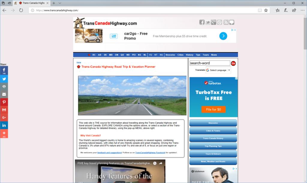 TransCanadaHighway.com website -desktop