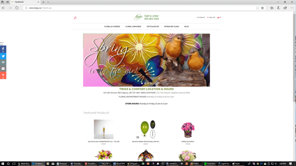 Twigs & Company website -desktop