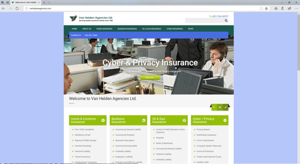 Van Helden Agencies website