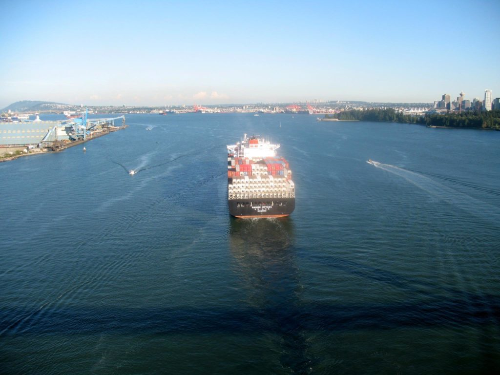 View of container ship from middle of Lions Gate Bridge, Vancouver
