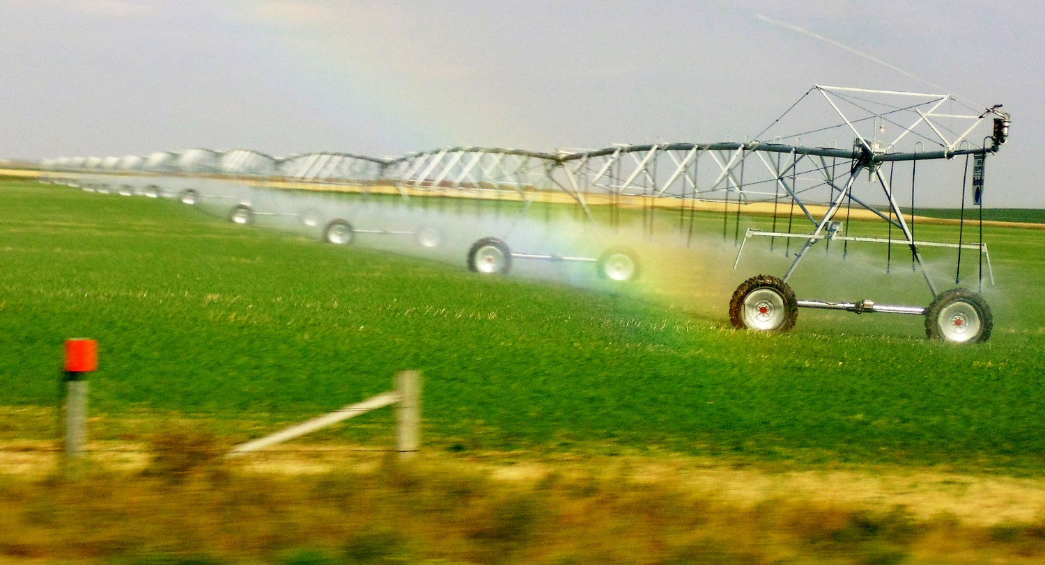 Irrigration Machine sprinkling a field
