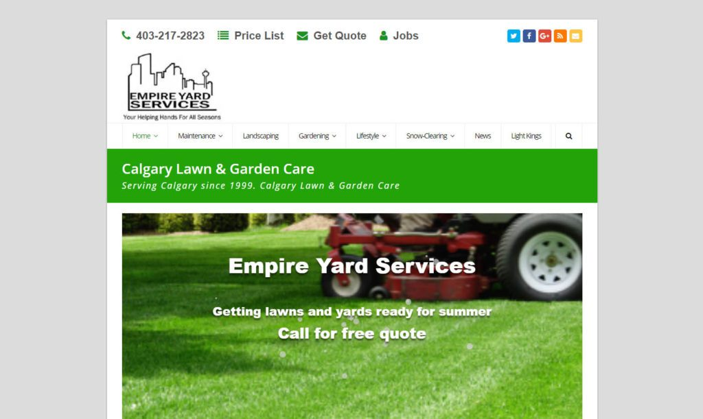 "Empire Yard Services ""responsive"" website, viewed on a desktop computer screen"