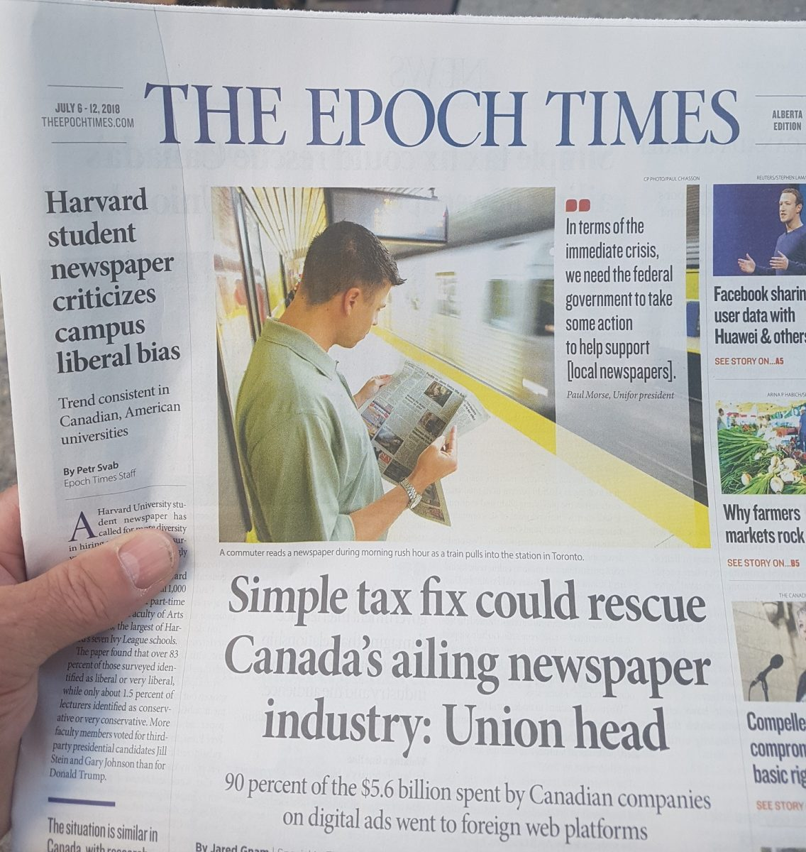 Epoch Times Article-Simple Tax Fix Could Help Rescue Canada's Ailing Newspaper Industry, Says Union Head