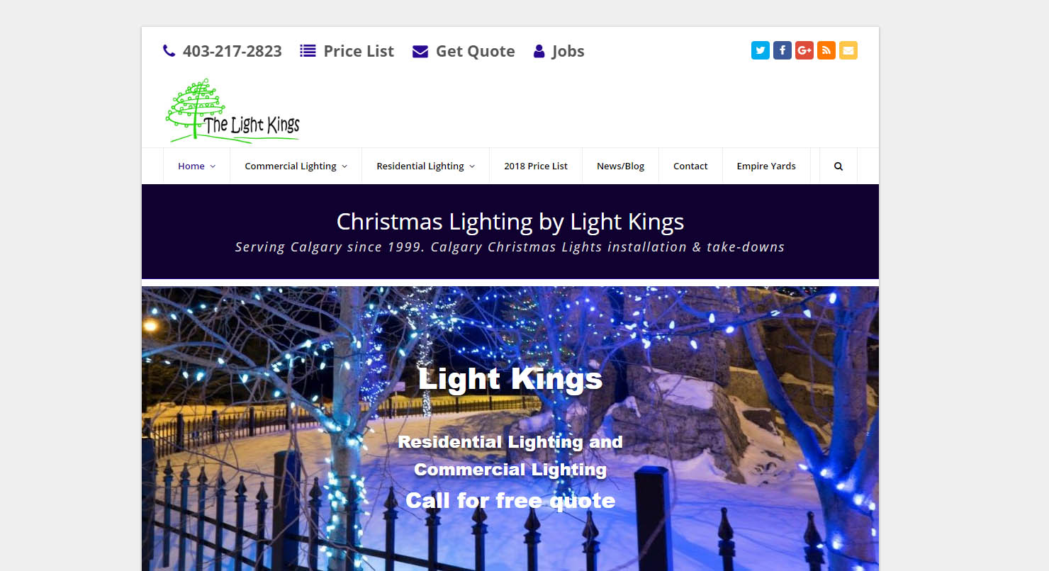 The Light Kings desktop view of website