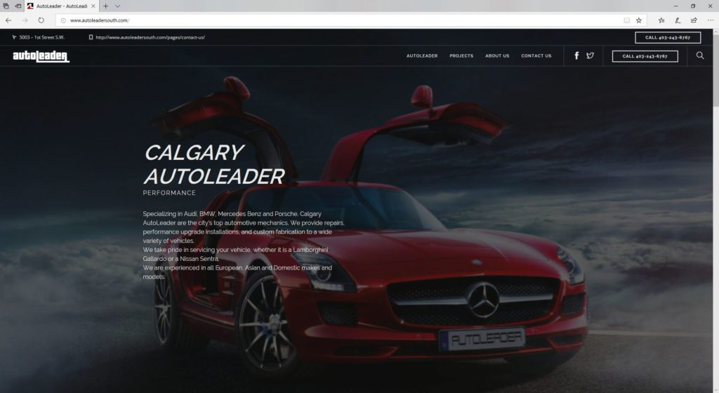 Auto Leader South - desktop website