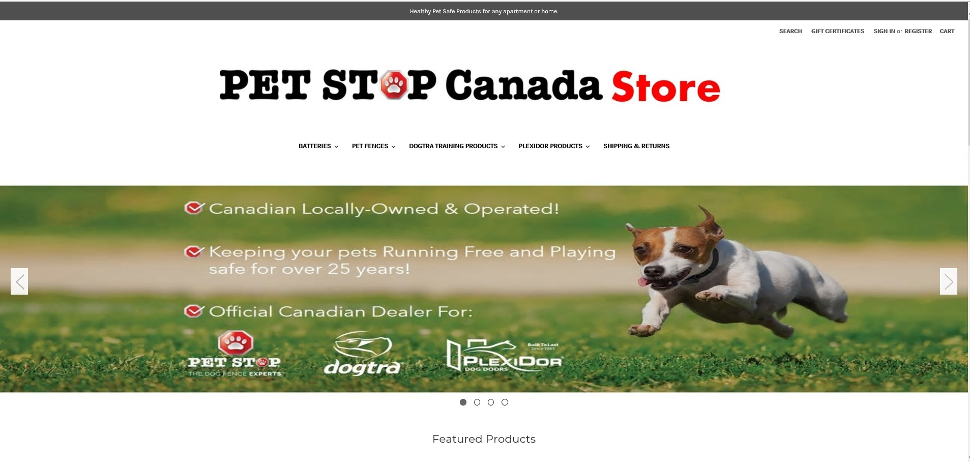 PetStop Canada - online store for supplies -tablet