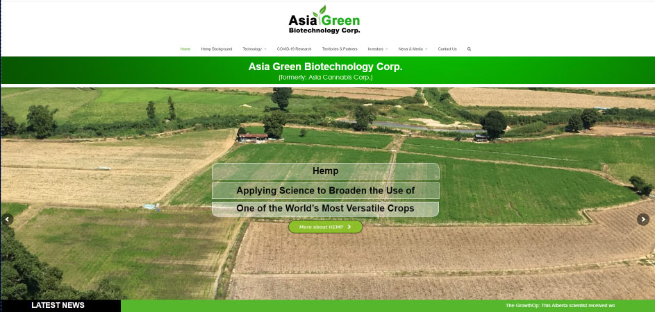 Asia Green Biotechnology Corp desktop website