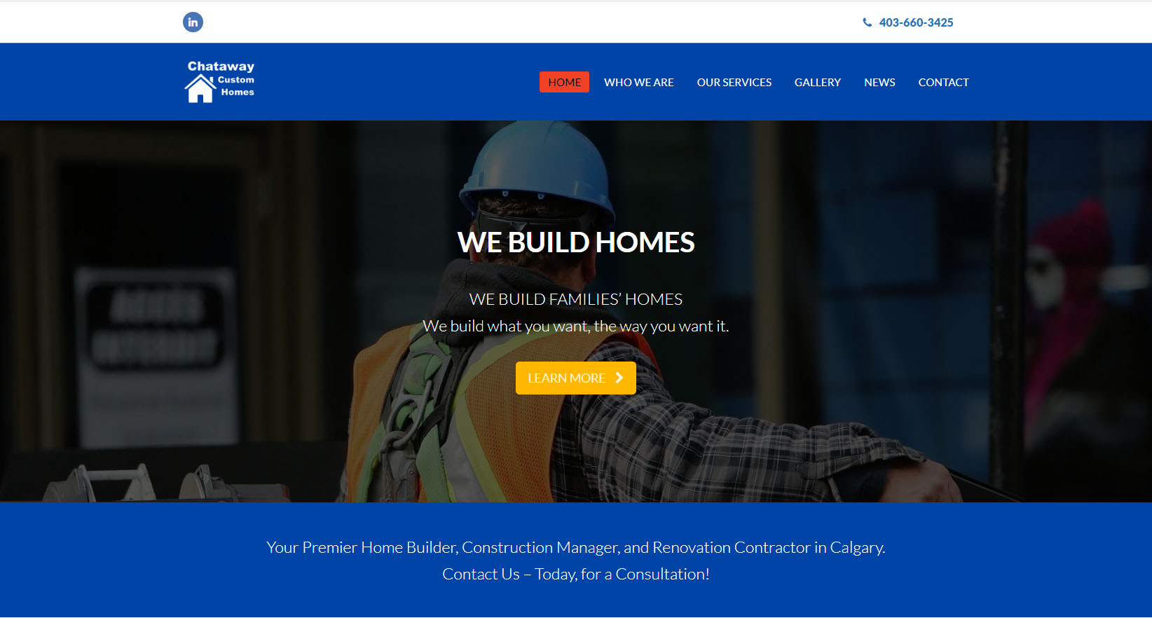 Chataway Homes desktop site