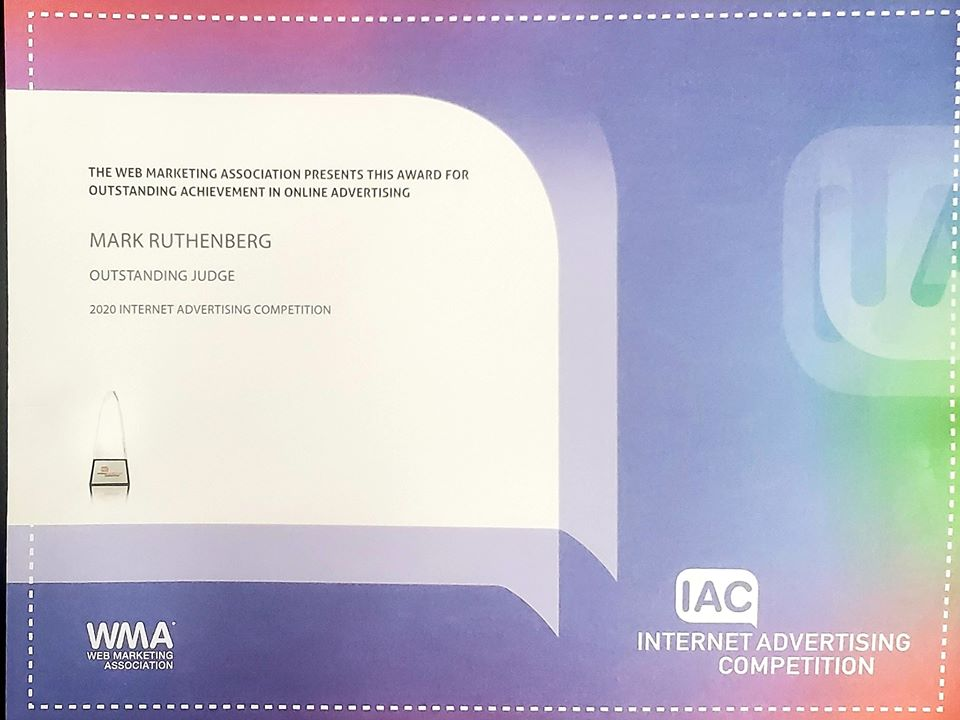 IIAC 2020 Outstanding Judge Certificate