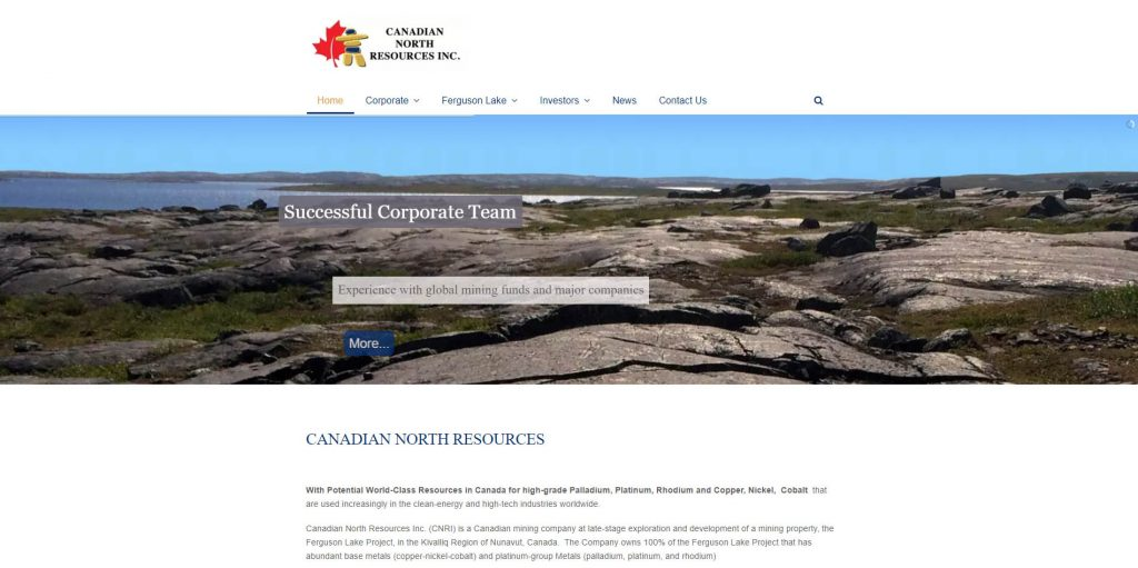 Canadian North Resources - desktop home page